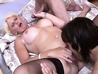 Double penetration for dity talking mature wife blowjob