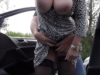 horny granny with big tits on the road public nudity