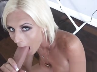 Glamorous MILF Olivia Blu sucking on fat stepson cock blonde