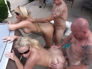 2 Hot Wives Fuck Neighbors Outside in Gangbang blonde