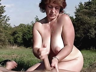 Brunette BBW-Milf Outdoors by Young Guy mature