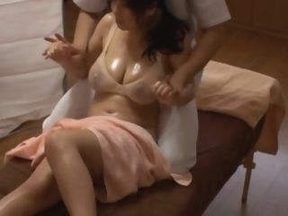 Japanese Cheating wife get massage fuck infornt of his Husband. japanese